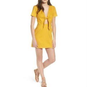 Socialite Jillian Tie Front Mini Dress Yellow XS